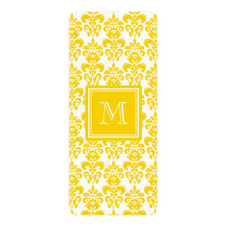 Your Monogram, Yellow Damask Pattern 2 10 Cm X 24 Cm Invitation Card