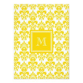 Your Monogram, Yellow Damask Pattern 2 14 Cm X 19 Cm Invitation Card