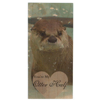 Your my Otter Half Brown River Otter Swimming Wood USB Flash Drive