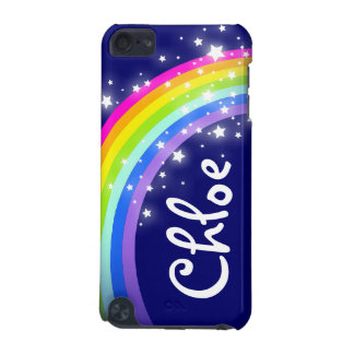 """Your name"" (5 letter) rainbow on navy ipod case"