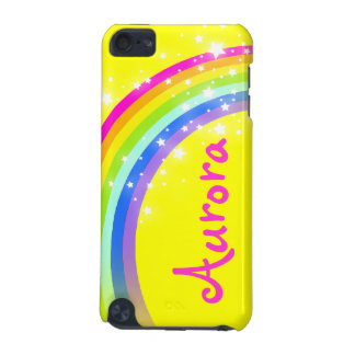 """Your name"" (6 letter) rainbow yellow ipod case"