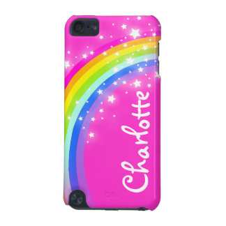 """Your name"" (9 letter) rainbow pink girl ipod case"