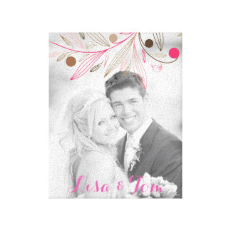 Your Name and Photo with Colored Floral Patter Gallery Wrap Canvas