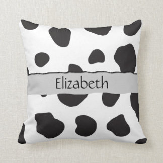 Your Name - Animal Print, Cow Spots - Black White Cushion