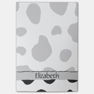 Your Name - Animal Print, Cow Spots - Black White Post-it® Notes