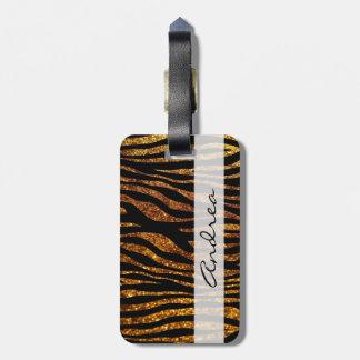 Your Name - Animal Print, Zebra, Glitter - Gold Bag Tag