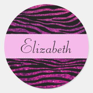 Your Name - Animal Print Zebra Glitter - Pink Sticker