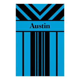 Your Name, Black and Intense Blue Stripes Chevrons Poster