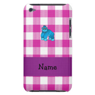 Your name blue gorilla pink gingham checkers barely there iPod cover