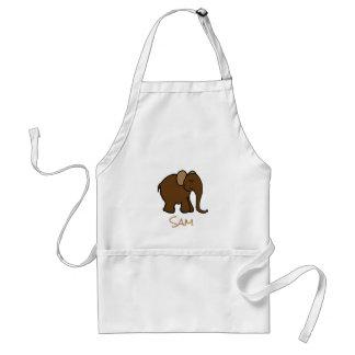 Your Name Brown Happy Cartoon Elephant Standard Apron