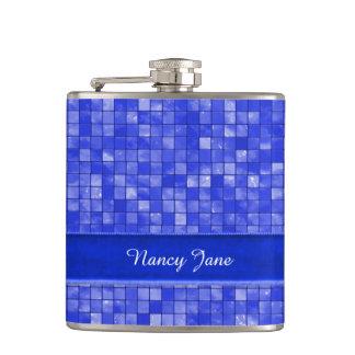 Your name, Cobalt Blue Geometric Tile Flask