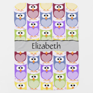 Your Name - Colorful Owls - Green Blue Purple Buggy Blanket