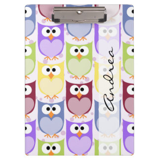 Your Name - Colorful Owls - Green Blue Purple Clipboard