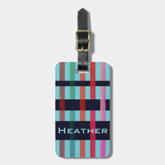 Your Name & Colorful Weaving Stripes on Soft Blue Luggage Tag