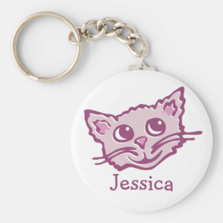 Your name cute kids graphic cat pink keychain