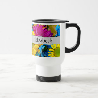 Your Name - Daisy Flowers, Blossoms - Blue Yellow Stainless Steel Travel Mug