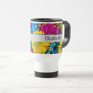 Your Name - Daisy Flowers, Blossoms - Blue Yellow Travel Mug