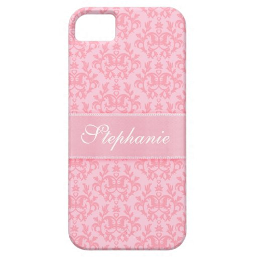 """""""Your name"""" damask light pink iphone 5 case"""