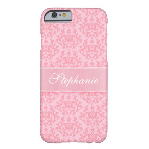 """""""Your name"""" damask light pink iPhone 6 case"""