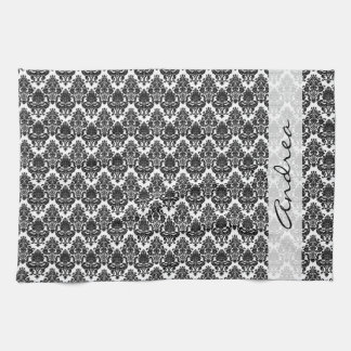 Your Name - Damask, Ornaments, Swirls - Black Kitchen Towel