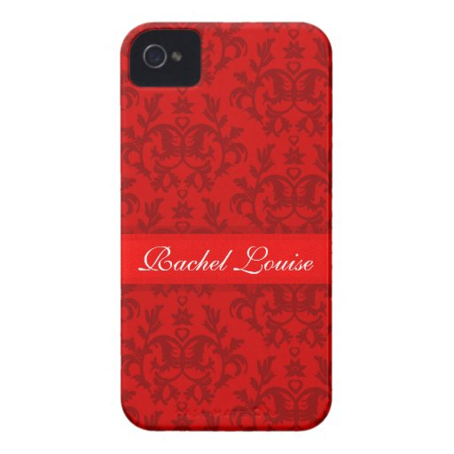 """Your name"" damask red iphone4S barely case Case-Mate iPhone 4 Cases"