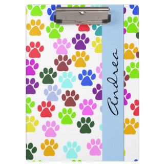 Your Name - Dog Paws, Trails, Paw-prints - Red Clipboard