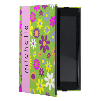 Your Name - Flowers, Blossoms - Green Purple Pink iPad Mini Cover