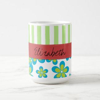 Your Name - Flowers, Petals, Blossoms - Green Blue Basic White Mug