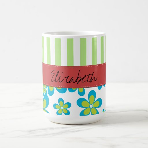 Your Name - Flowers, Petals, Stripes - Green Blue Coffee Mugs