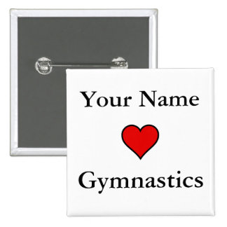 (Your Name) Hearts Gymnastics 15 Cm Square Badge