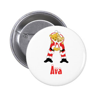 Your Name Here! Custom Letter A Teddy Bear Santas 6 Cm Round Badge