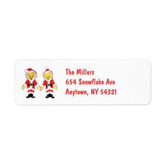 Your Name Here! Custom Letter M Teddy Bear Santas Return Address Label