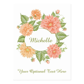 Your Name in a Flower Frame custom postcard