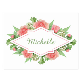 Your Name in a Flower Frame postcard