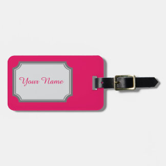 your name in raspberry color luggage tag