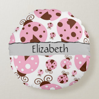 Your Name - Ladybugs, Ladybirds - Pink Brown Round Cushion