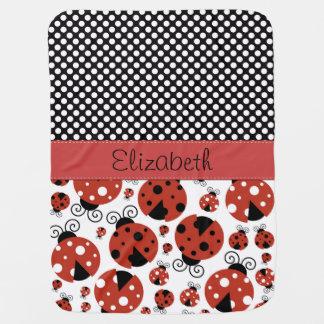 Your Name - Ladybugs, Ladybirds - Red Black Buggy Blankets