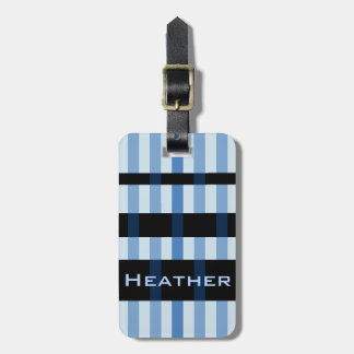 Your Name & Modern Blue Black Weaving Stripes Luggage Tag
