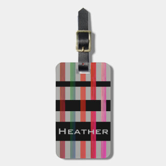 Your Name & Modern Weaving Colorful Stripes/Gray Luggage Tag