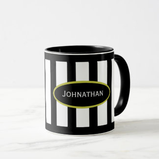 Your Name Mug in Stripe Black White Gold