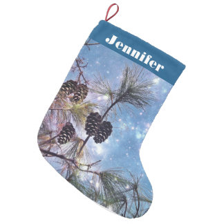 Your Name on Christmas Pine Cones Small Christmas Stocking