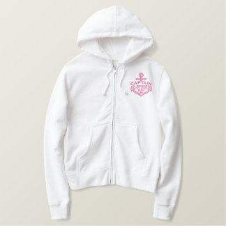 Your Name on Nautical Anchor Embroidery Captain Embroidered Hoodie