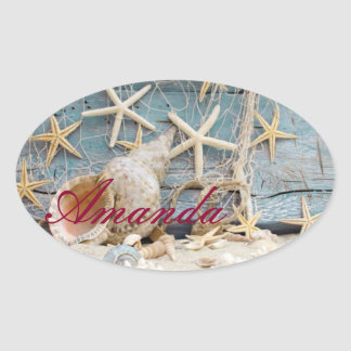 Your Name on Sea Shell Oval Stickers