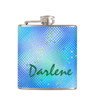 Your Name on this Blue Freesia Flask