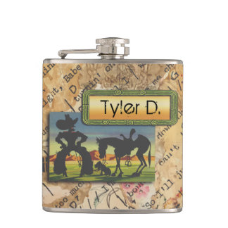 Your Name on this Cowboy Character Flask