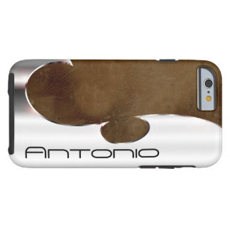 Your name on this handsome faux silver and leather tough iPhone 6 case