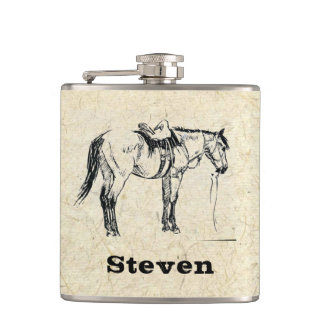 Your Name on this Saddled Horse Flask