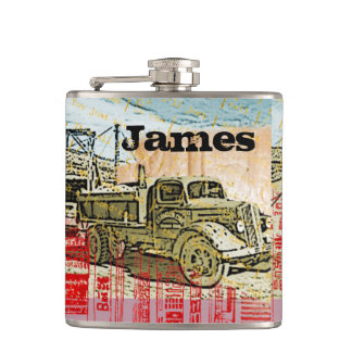 Your Name on This Vintage Truck Flask