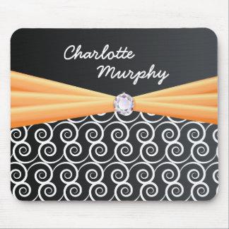 Your Name Orange Silk Bling Mousepad