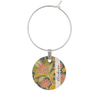 Your Name - Oriental Iranian Paisley - Green Red Wine Glass Charm